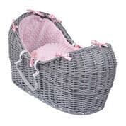Wicker Noah Pod In Grey With Pink Dimple Liner