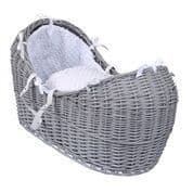 Wicker Noah Pod In Grey With White Dimple Liner