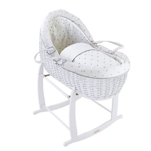 Willow Bassinet  - White Lullaby Hearts
