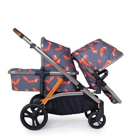 WOW XL Charcoal Mr Fox Travel System for Siblings