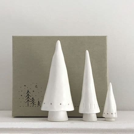 East of India Christmas Set of 3 Conical Trees