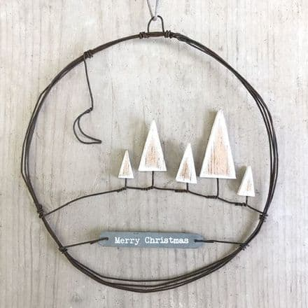East of India Rusty Wire Wreath Large - Christmas Trees