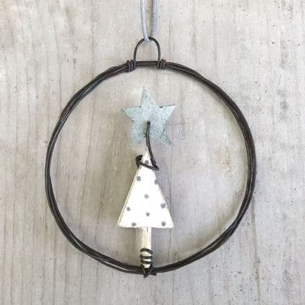 East of India Rusty Wire Wreath Small - Tree