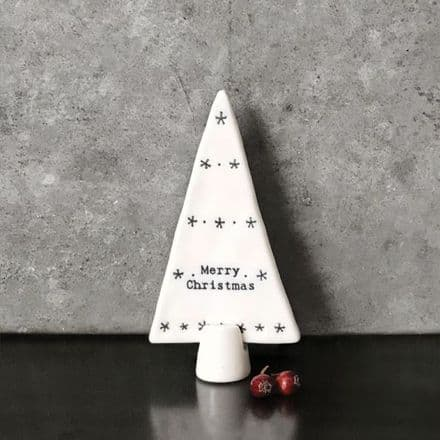 East of India Standing Porcelain Tree Merry Christmas