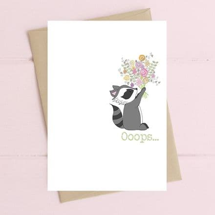 Oops- Racoon with Flowers Card