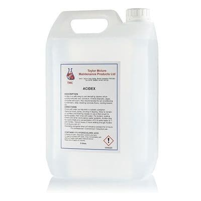 TAYLOR MCLURE - ACIDEX  The best hydrochloric acid based descaler. Strong, safe and easy to use for cleaning and descaling boilers, heating systems, air conditioning condensers  and can also be used for cleaning concrete floors.