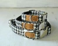 Black & White Houndstooth Tweed Dog Collar
