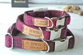 Cerise Harris Tweed Dog Collar